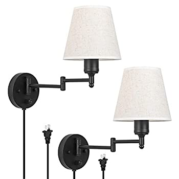 HAITRAL Swing Arm Wall Lamps Set of 2- Plug Wall Sconces with ON/Off Switch On Base Bedroom Wall Lamps with Plug in & Hardwire Wall Light Fixtures for Bedroom Bedside Farmhouse Office-Linen Fabric