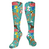 Boxer Dog Breed Beach Pattern Classics Compression Socks Svetlana Novikova Athletic Long Crew Socks For Men Women 19.6inch(50cm)