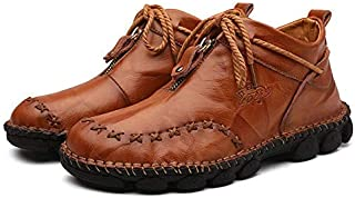 DaYee Men's Casual Genuine Leather Comfortable Snow Shoes Ankle Boots