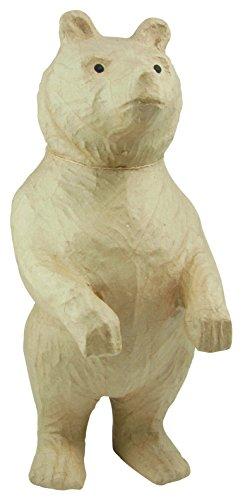 Décopatch LA001O Träger L aus Pappmaché, Bear stehend, 25 x 33 x 51 cm, zum Verzieren, Kartonbraun