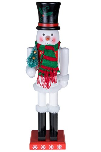 Clever Creations Traditional Wooden Collectible Snowman Christmas Nutcracker | Festive Christmas Decor | 100% Wood | 15' Tall Perfect for Shelves and Tables