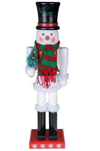 Clever Creations - Cascanueces de Navidad Coleccionable - 100% Madera - Muñeco de Nieve con Sombrero de Copa Negro...