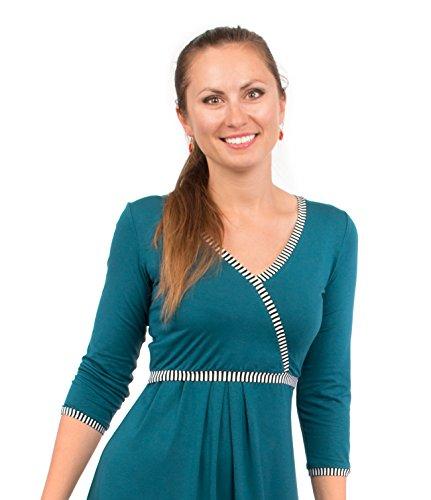 Viva la Mama blaues Kleid für Schwangere Stillkleid Damen Umstandsmode Kleid festlich Mamamode – Wanda Petrolblau Streifen - 5
