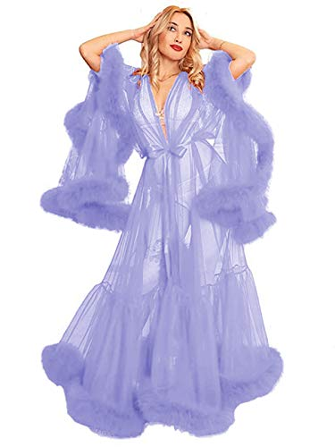 Tianzhihe Fur Sheer Lingerie Robe Bridal Tulle Boudoir Bathrobe Feather Nightgown Maternity Dress Lavender 3X-Large