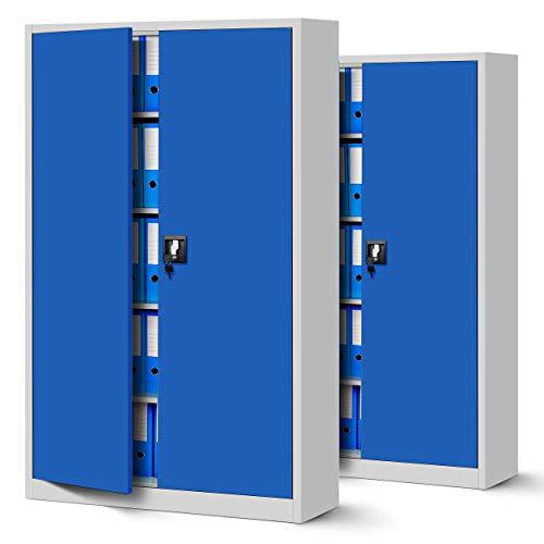 Jan Nowak 2er Set Aktenschrank XXL C001II Büroschrank Metallschrank Flügeltüren Stahlblech Pulverbeschichtung 185 cm x 115 cm x 40 cm (grau/blau)