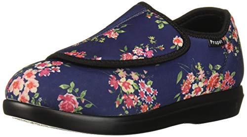 Propet Women's Cush 'N Foot Slipper, Navy Blossom, 10.5 XX-Wide