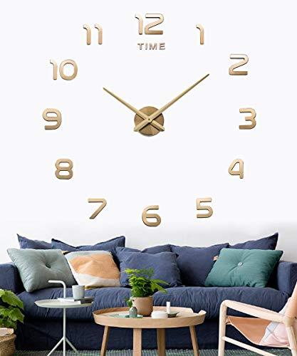 SIEMOO Large DIYWallClock,3D Mirror Number Stickers Large Wall Clock Kit Mute Frameless Modern DesignforHomeLivingRoomBedroomOfficeDecoration-Gold