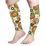 Bikofhd Kompressions-Ärmel für Herren und Damen, Pizza-Muster, Wadenbandage