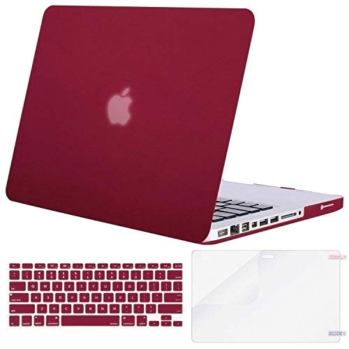 MOSISO Plastic Hard Shell Case & Keyboard Cover Skin & Screen Protector Only Compatible with Old Version MacBook Pro 15 Inch (Model: A1286, with CD-ROM), Release 2012/2011/2010, Deep Wine