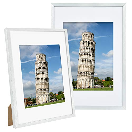 Alishomtll Bilderrahmen DIN A4 Bilderrahmen 2er Set, 21 x 29,7 cm, Fotorahmen Silber Gebürstet Aluminium für Mehrere Bilder Fotos