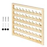 HAITRAL 54 Spulen Nähgarnständer aus Holz, Wandmontierter Garnhalter mit Hängenden Haken, Holzorganisator für Nähen, Quilten, Sticken, Schmuck