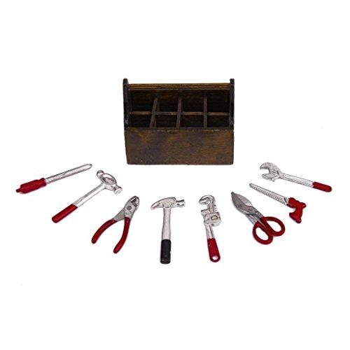 TOOGOO SODIAL(R) 1/12 Maison de poupee Miniature Boite en bois avec un ensemble d'outils en metal