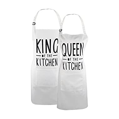 Fodiyaer Couple Baking Aprons Queen & King of The Kitchen Apron Set, His and Her Engagement Anniversary Wedding or Bridal Shower Gift, Cotton Newly Engaged Gifts Apron for Cooking