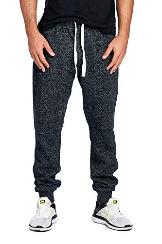 ProGo Men's Joggers Sweatpants Basic Fleece Marled Jogger Pant Elastic Waist (Small, Marled Black)