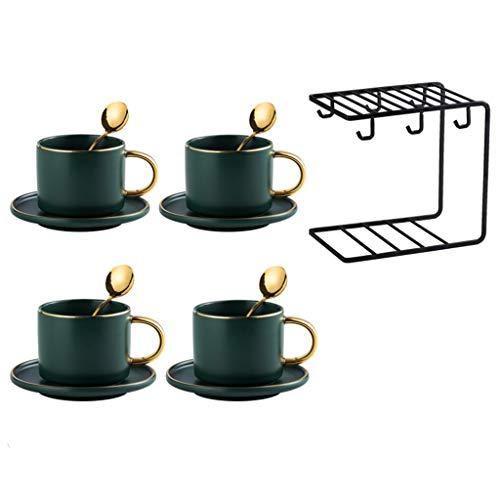 Juego De Tazas De Café con Cuchara Taza Y Rejilla para Platos Taza De 4 Piezas Taza De Té De 6 Oz Utensilios De Diseño Dorado Multicolor para Té Cacao Leche Taza De Refresco
