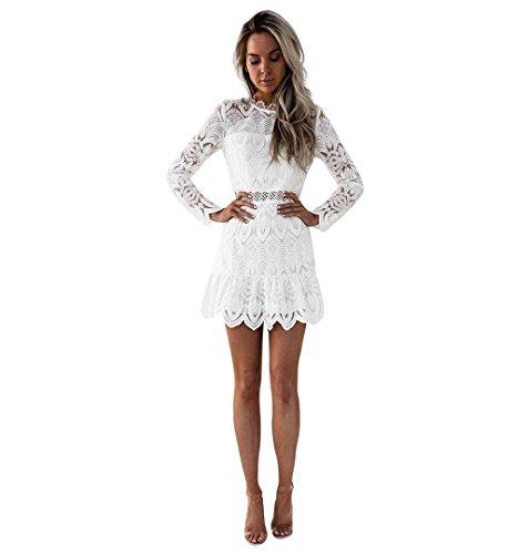 ZEZKT☀Spitzenkleider Damen Frauen Cocktail Kleid Lässig Rückenfrei Kurze Mini-Kleid Blumen Rundhals Knielang Kleid Hochzeitskleid Langarm Cocktailkleid Knielang Rockabilly (M, Weiß)