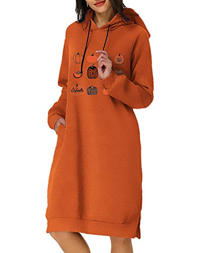 Kidsform Robe Sweat Femme à Capuche Halloween Toussaint Costumes Robe Sweatshirt à Manches Longues Col Rond Imprimé de Citrouille Robes Pull Grande Taille Epais B-b Orange S
