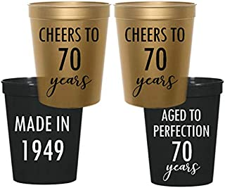 70th Birthday Stadium Plastic Cups - Made in 1949, Aged to Perfection, Cheers to 70 Years (10 cups)