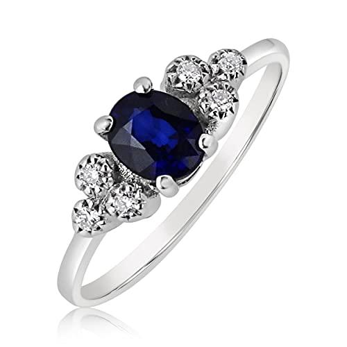 MILLE AMORI ∞ - Anillo de compromiso para mujer, oro y diamante y zafiro natural ∞ oro blanco de 9 quilates 375 diamante 0,07 Kts zafiro 0,40 Kts