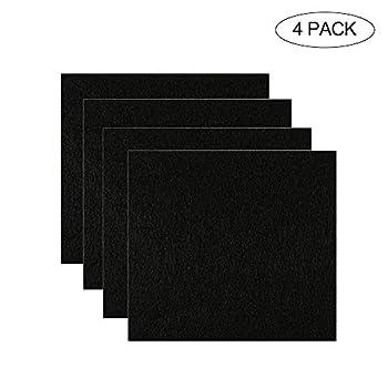 Womdee Lot de 4 filtres de Rechange pour litière à Charbon de Bois pour Chat 16,5 x 15,2 cm avec Capuche, filtres à Odeur de Carbone Noir