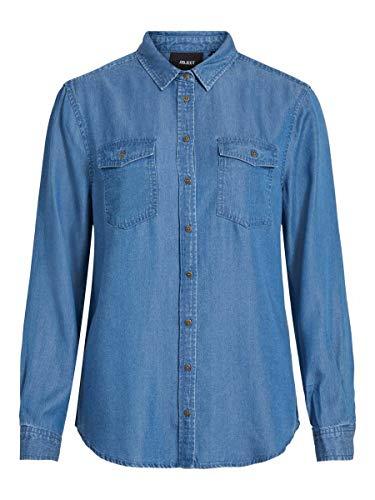 Object OBJLANIE L/S Shirt Noos Camisa, Medio De Mezclilla Azul, 36 para Mujer