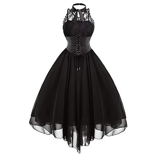 Routefuture Femme Déguisement Gothique Robe Vintage à Manches Longues C18