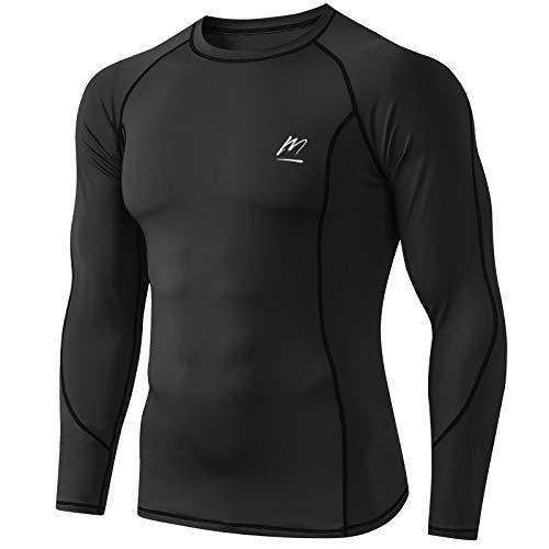MeetHoo Camiseta de compresión para hombre, camiseta de manga larga, de secado rápido, deportiva, para correr, gimnasio, ciclismo, gimnasio Negro S