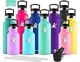 KollyKolla Botella de Agua Acero Inoxidable, Termo Sin BPA Ecológica Reutilizable, Botella Termica con Pajita y Filtro, Water Bottle para Niños & Adultos, Deporte, Oficina (350ml Macaron Verde)