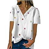 2021 Nuevo Camiseta de Mujer, Verano Moda Flores Impresión Manga Corta Algodón y Lino Elegante Blusa Camisa Cuello en V Camiseta Casual Suelto Tops Fiesta T-Shirt Original tee