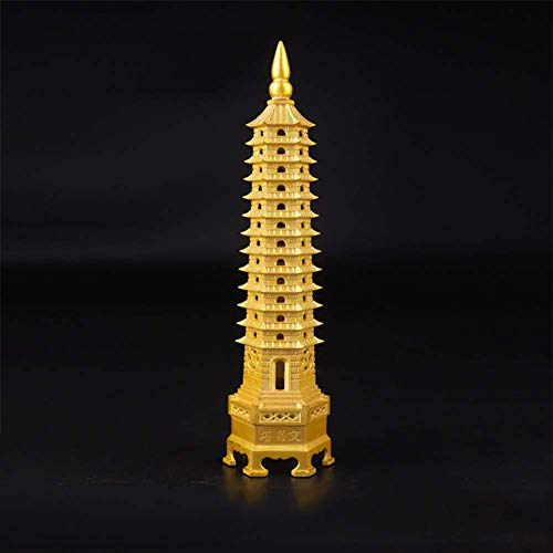 Feng Shui Pure Copper Wenchang Tower Model, Chińska Pagoda Tower Rzemiosło Statua Pamiątka, Ochrona Biznes Rośnie Biurko Wystrój Kolekcjonerska Dekoracja Domu Rękodzieło, 38Cm