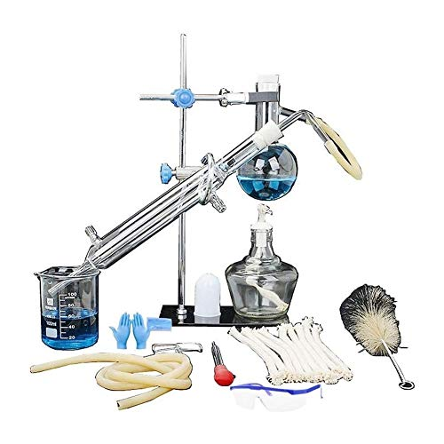 Sucastle Cristalería de Laboratorio de Cristal Kit de destilación Industrial Ciencia Destilador Pure Rocío Purificación Hacer Aceites Esenciales Filtro Agua destilada químicos
