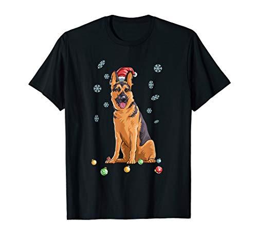 Christmas German Shepard Shirt K9 Santa Hat Funny Gift T-Shirt