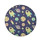 vinlin Round Placemat Set of 1 Cute Cartoon Space Pattern,Poliéster Non Slip Resistant Table Place Mat for Kitchen Dining Table Decor, poliéster, multicolor, 1 piece