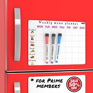 2 Kitchen Fridge Magnets : Dinner Menu Board For Kitchen and Refrigerator Message Board / Magnetic Whiteboard for Refrigerator - Set of 2 - Fridge Reminder Boards - Smart Magnets For Fridge