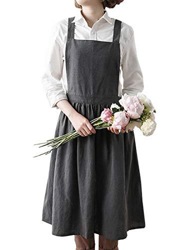 Idopy Delantal de lino para mujer con diseño de pintores, ideal para cocinar, barbacoa, Gris, Talla única