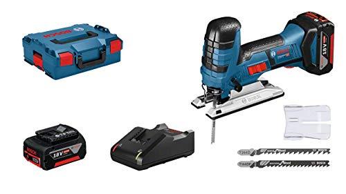 Bosch Professional GST 18V-LI S (inkl. 2x 4.0 Ah Akku + Ladegerät, 3x Sägeblätter für Holz, Abdeckhaube, 1/1 L-BOXX-Einlage, L-BOXX 136)