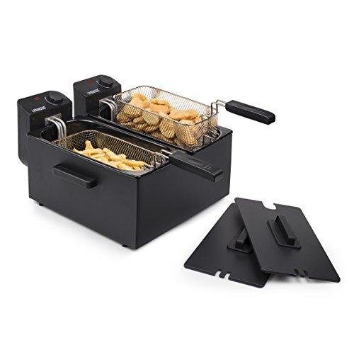 Princess 183028 Roestvrijstalen dubbele friteuse in zwart - 2 x 3 liter (2 x 1800 watt) met oliefilter en koudzone-functie
