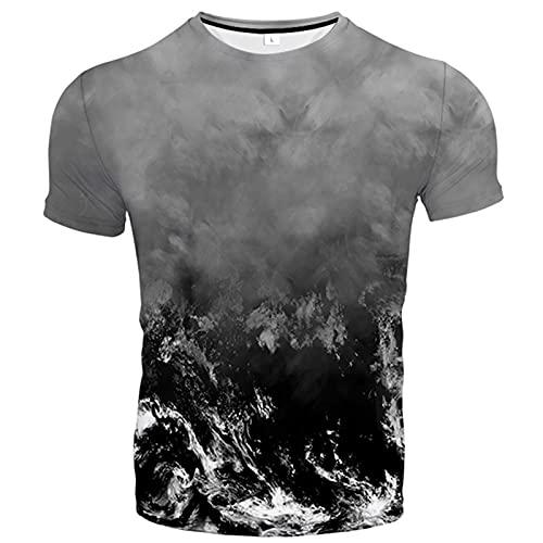 Camiseta 3D, cuello redondo con estampado de verano, manga corta, casual, unisex, elementos únicos, coloridos y bonitos diseños (XXS-6XL), a, XX-Small