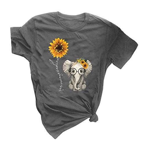 Qianxitang Women's Graphic Tees Cute Sunflower Elephant Print Summer Casual Short Sleeve Round Neck Tops T Shirt (Grey, Large)