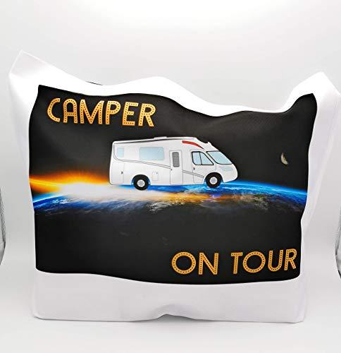 Tasche Camper On Tour mit Wohnmobil im Sonnenuntergang, ohne Mehrkosten personalisiert mit Wunschnamen