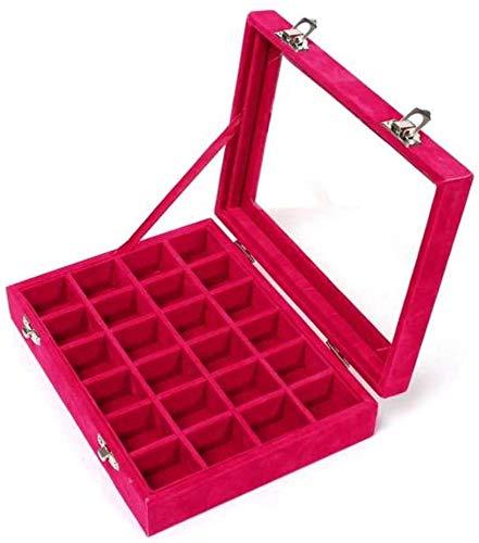 Caja Joyero,Terciopelo Organizador de Pendientes Caja para joyerias Anillos Pulsera Collar Pendientes,24 Section (rojo)