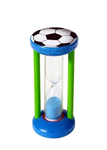 Zahnputzuhr Fußball – Sanduhr aus Holz – Eieruhr – Zähne putzen - Kinderuhr – Holzspielzeug aus dem Erzgebirge – NEU