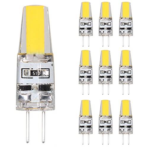 ZJING Paquete De 10 Lámparas LED G4 Regulables, Bombillas De Filamento LED COB De 6 W, Reemplaza Lámpara Halógena, Bombillas LED De 12V CC, G4 Ángulo De Haz De 360 °,Cool White
