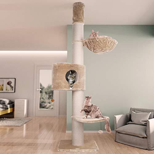 Happypet Premium Kratzbaum, Giant CAVE Tower I, für große schwere Katzen (Main Coon), 8mm Sisal, 17cm Säulen, 45cm Liegemulde, 275cm Deckenhoch Creme
