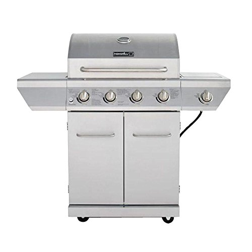 4-Burner Propane Gas Grill in Stainless Steel with Side Burner and Stainless Steel...