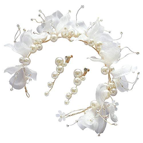 Diadema de lentejuelas,Suministros para la fiesta,moda,Boda novia tocado bandas para el cabello inmortal con cuentas flor niñas adorno perla pendiente accesorios para el cabello conjunto