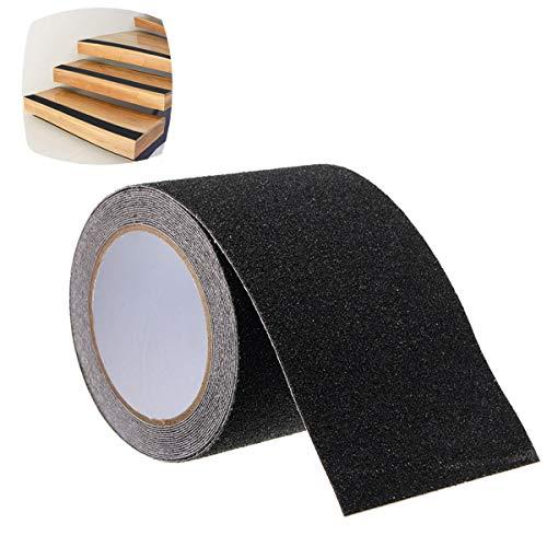 SAFETYON Antirutsch Klebeband wasserfest für Innen-Außenbereich, Antirutsch Streifen mit Selbstklebend antirutsch kleber für Treppen Teppich Bodenbelag Stufen, Länge: 5m Breite: 10cm schwarz