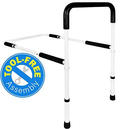 Medical Adjustable Bed Assist Rail Handle and Hand Guard Grab Bar, Bedside...