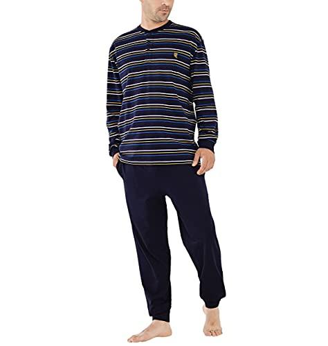 El Búho Nocturno - Pijama Hombre Largo Tapeta Punto Rayas Marino 100% algodón Talla 8 (4XL)