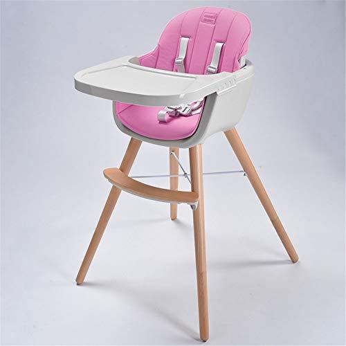 QiHaoHeji Kinderstoel Houten 3 In 1 Cabriolet Moderne High-footed Kussen Verstelbare Voeding Stoel Geschikt voor Peuters Baby Stoel (Kleur : Roze)